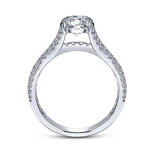 Chessie 14k White Gold Round Straight Engagement Ring angle 2