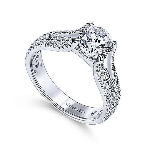 Chessie 14k White Gold Round Straight Engagement Ring angle 3