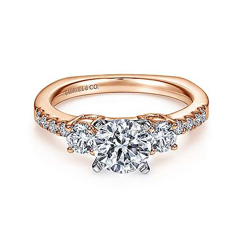 Chloe 14k White And Rose Gold Round 3 Stones Engagement Ring angle 1