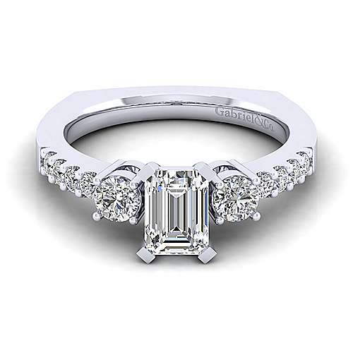 Gabriel - Chloe 14k White Gold Emerald Cut 3 Stones Engagement Ring