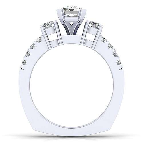 Chloe 14k White Gold Emerald Cut 3 Stones Engagement Ring angle 2