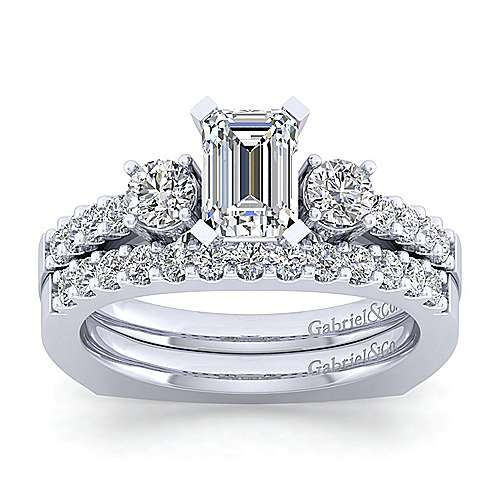 Chloe 14k White Gold Emerald Cut 3 Stones Engagement Ring angle 4