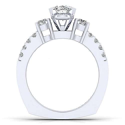 Chloe 14k White Gold Oval 3 Stones Engagement Ring angle 2