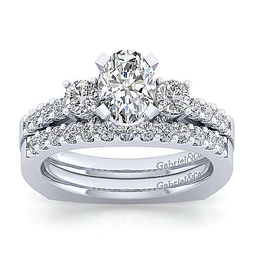 Chloe 14k White Gold Oval 3 Stones Engagement Ring angle 4