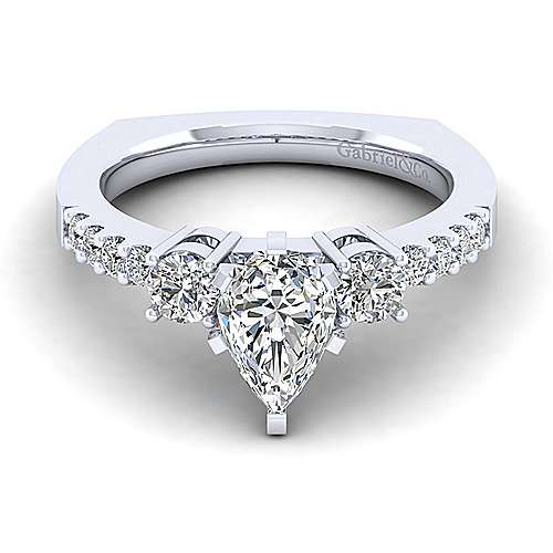 Gabriel - Chloe 14k White Gold Pear Shape 3 Stones Engagement Ring