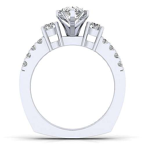 Chloe 14k White Gold Pear Shape 3 Stones Engagement Ring angle 2
