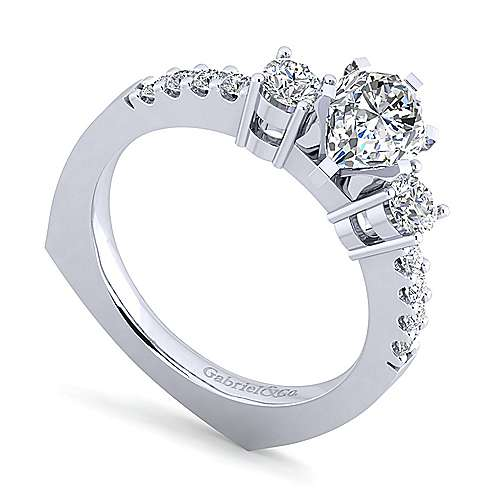 Chloe 14k White Gold Pear Shape 3 Stones Engagement Ring angle 3