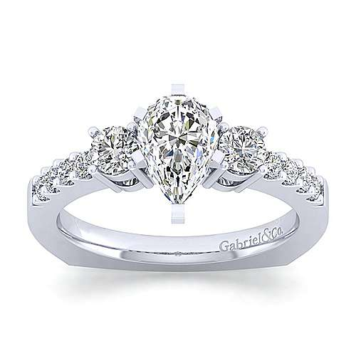 Chloe 14k White Gold Pear Shape 3 Stones Engagement Ring angle 5