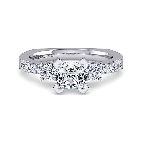 Gabriel - Chloe 14k White Gold Princess Cut 3 Stones Engagement Ring