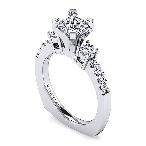 Chloe 14k White Gold Princess Cut 3 Stones Engagement Ring angle 3