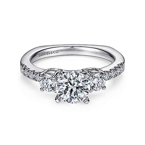 Chloe 14k White Gold Round 3 Stones Engagement Ring angle 1