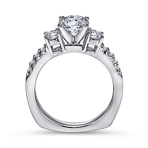 Chloe 14k White Gold Round 3 Stones Engagement Ring angle 2