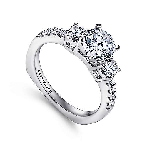 Chloe 14k White Gold Round 3 Stones Engagement Ring angle 3