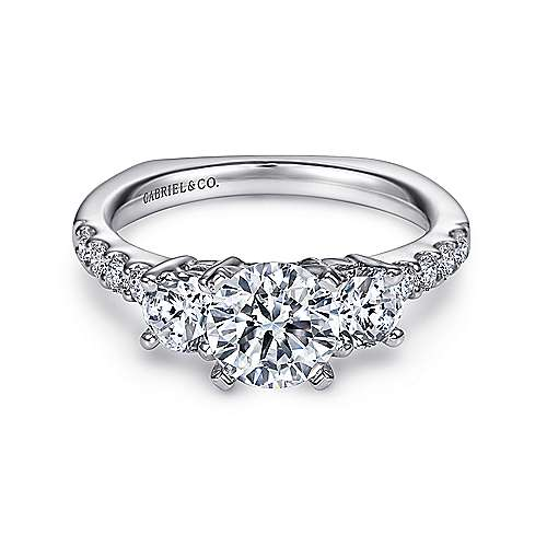 Gabriel - Chloe 14k White Gold Round 3 Stones Engagement Ring