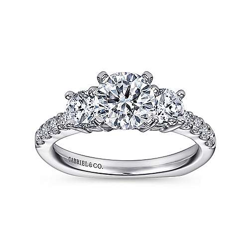 Chloe 14k White Gold Round 3 Stones Engagement Ring