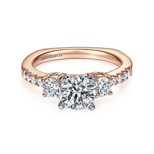 Gabriel - Chloe 14k White/pink Gold Round 3 Stones Engagement Ring
