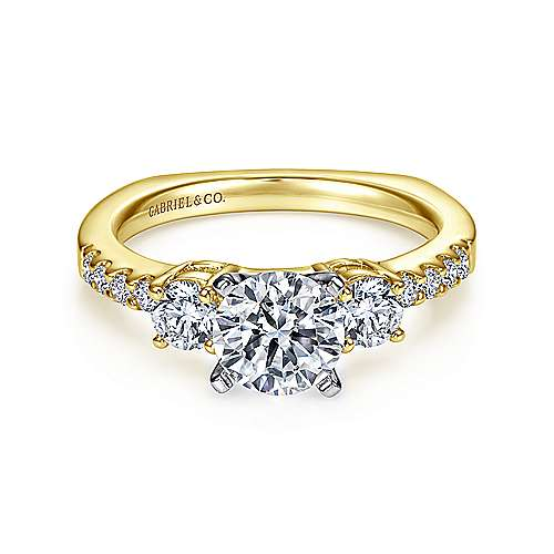 Gabriel - Chloe 14k Yellow And White Gold Round 3 Stones Engagement Ring