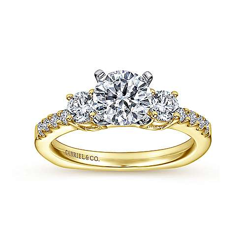 Chloe 14k Yellow And White Gold Round 3 Stones Engagement Ring