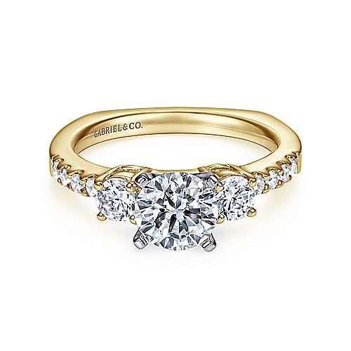 Gabriel - Chloe 14k Yellow/white Gold Round 3 Stones Engagement Ring