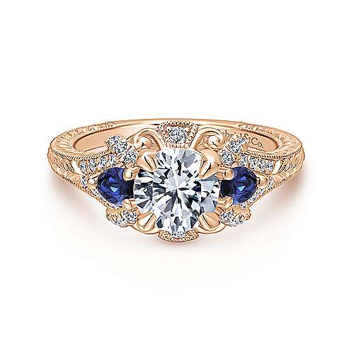 Gabriel - Chrystie 14k Rose Gold Round 3 Stones Halo Engagement Ring
