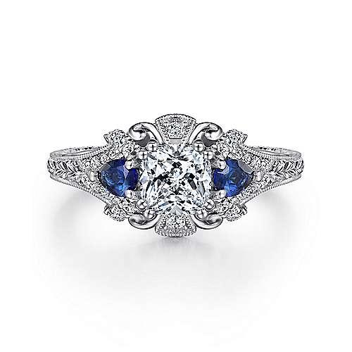 Gabriel - Chrystie 14k White Gold Cushion Cut 3 Stones Halo Engagement Ring