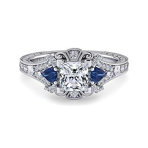 Gabriel - Chrystie 14k White Gold Princess Cut 3 Stones Halo Engagement Ring