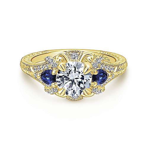 Gabriel - Chrystie 14k Yellow Gold Round 3 Stones Halo Engagement Ring