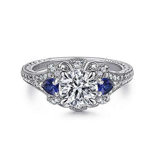 Gabriel - Chrystie 18k White Gold Round 3 Stones Halo Engagement Ring
