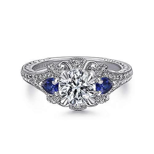 Gabriel - Chrystie Platinum Round 3 Stones Halo Engagement Ring