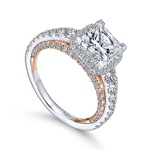 Cibu 18k White And Rose Gold Princess Cut Double Halo Engagement Ring angle 3