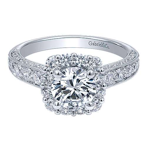 Gabriel - Cicely 14k White Gold Round Halo Engagement Ring