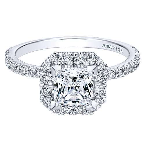 Gabriel - Cindy 18k White Gold Princess Cut Halo Engagement Ring