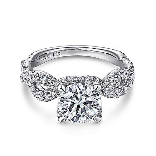 Gabriel - Clancy 18k White Gold Round Twisted Engagement Ring
