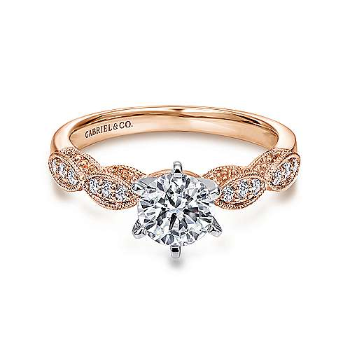 Gabriel - Clara 14k White And Rose Gold Round Straight Engagement Ring