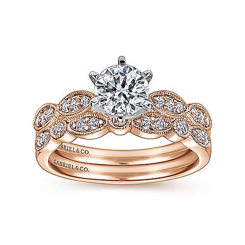 Clara 14k White And Rose Gold Round Straight Engagement Ring angle 4