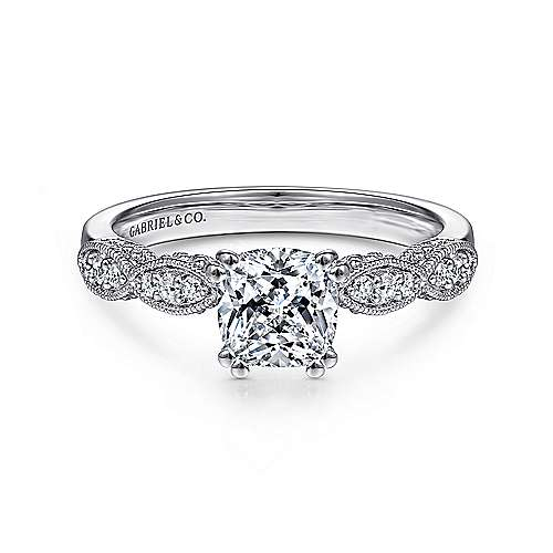 Gabriel - Clara 14k White Gold Cushion Cut Straight Engagement Ring