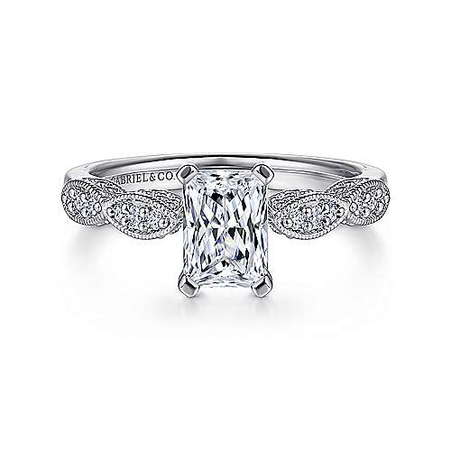 Gabriel - Clara 14k White Gold Emerald Cut Straight Engagement Ring