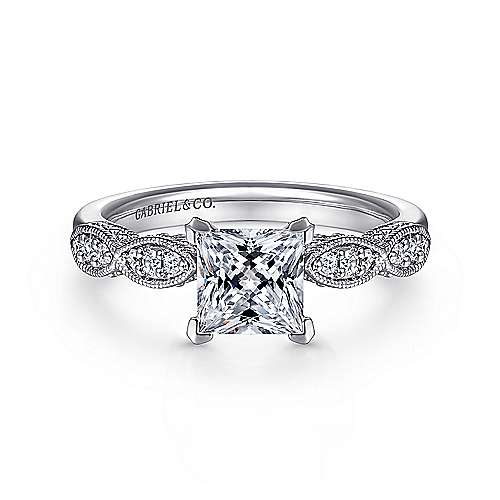 Gabriel - Clara 14k White Gold Princess Cut Straight Engagement Ring