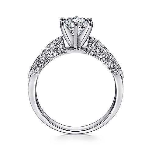 Clara 14k White Gold Round Straight Engagement Ring angle 2
