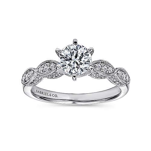 Clara 14k White Gold Round Straight Engagement Ring angle 5
