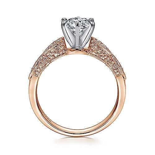Clara 14k White/pink Gold Round Straight Engagement Ring angle 2