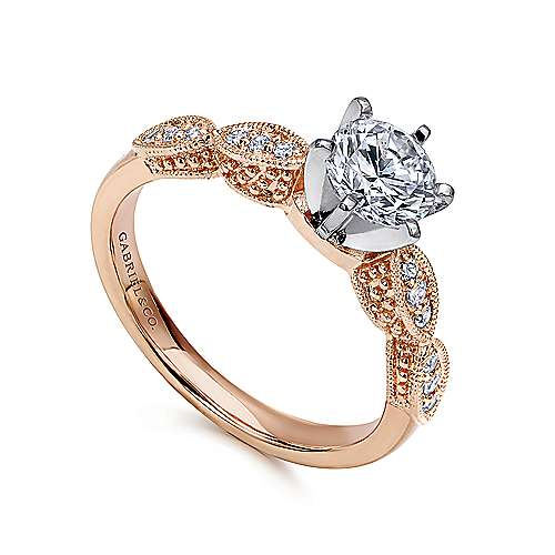 Clara 14k White/pink Gold Round Straight Engagement Ring angle 3