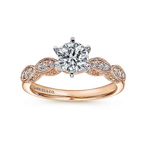 Clara 14k White/pink Gold Round Straight Engagement Ring angle 5