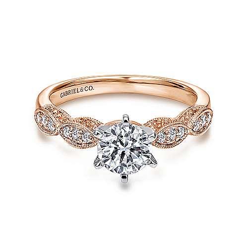 Gabriel - Clara 14k White/rose Gold Round Straight Engagement Ring