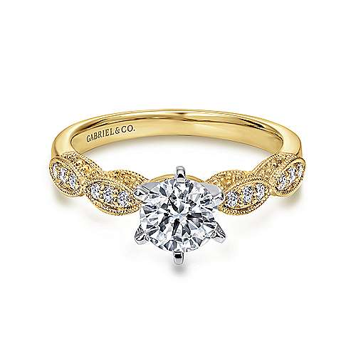 Gabriel - Clara 14k Yellow And White Gold Round Straight Engagement Ring