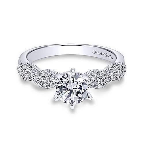 Gabriel - Clara 18k White Gold Round Straight Engagement Ring