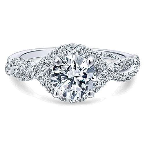 Gabriel - Clarissa 14k White Gold Round Twisted Engagement Ring