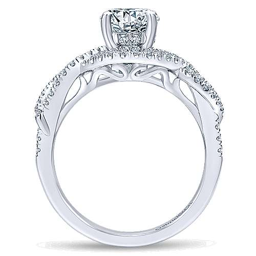 Clarissa 14k White Gold Round Twisted Engagement Ring angle 2