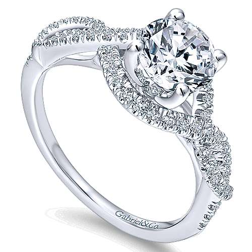 Clarissa 14k White Gold Round Twisted Engagement Ring angle 3