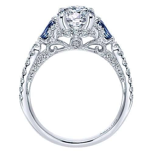 Clarity 18k White Gold Round 3 Stones Halo Engagement Ring angle 2